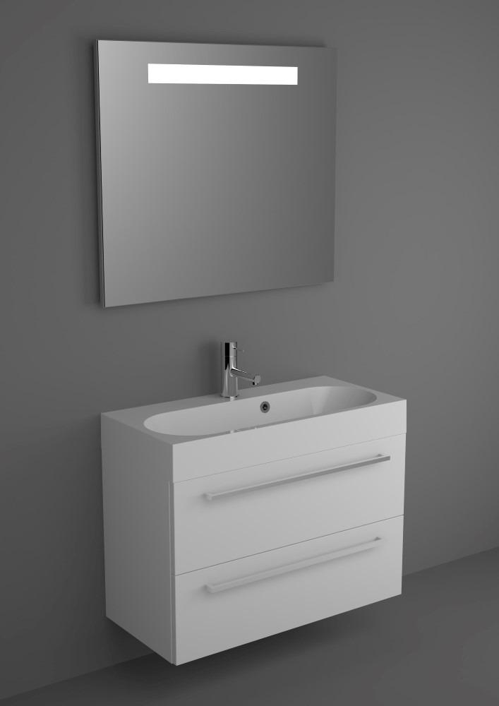 RIHO Slimline meubelset met spiegel incl verlichting 80x38cm giethars wastafe # Riho Wasbak_194107